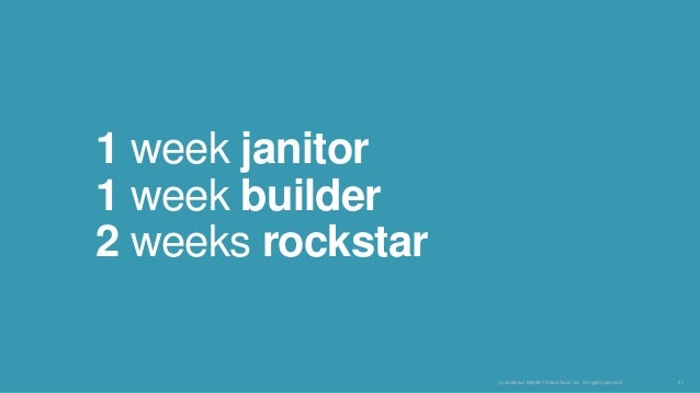 Confidential ©2008-15 New Relic, Inc. All rights reserved. 61 1 week janitor 1 week builder 2 weeks rockstar
