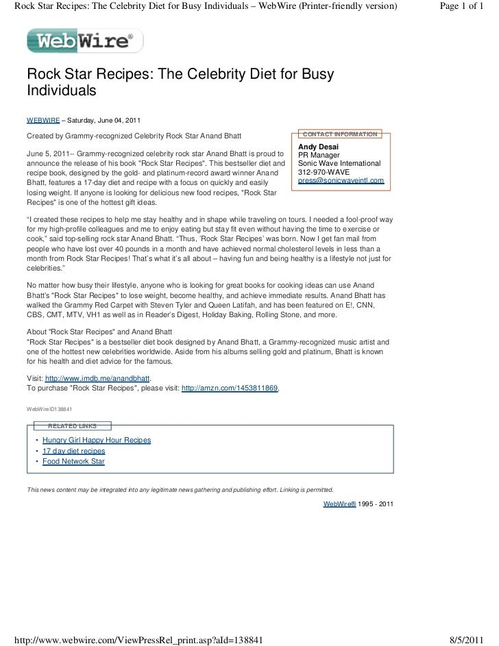 Rock Star Recipes: The Celebrity Diet for Busy Individuals – WebWire (Printer-friendly version)                           ...