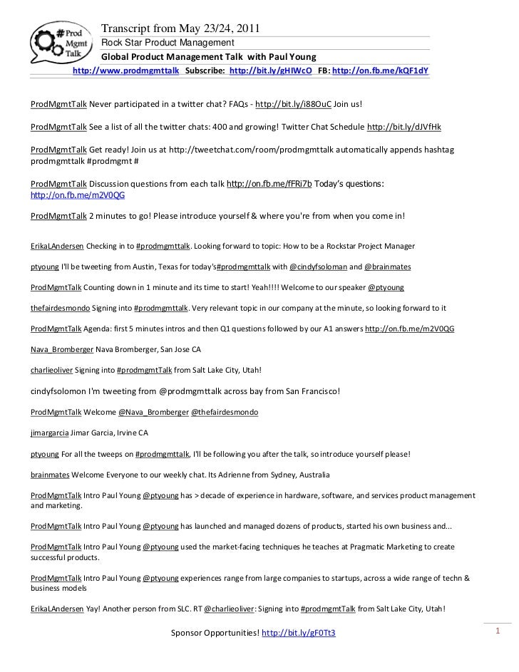 Transcript from May 23/24, 2011                     Rock Star Product Management                     Global Product Manage...