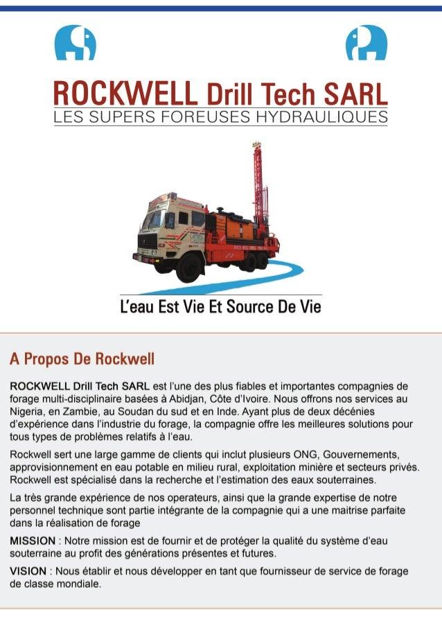 Rockwell Drill Tech - Forage Côte d'Ivoire, Forage de Puits