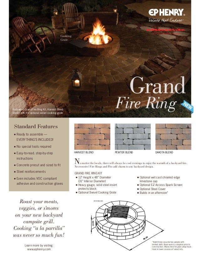 48.00 12.00 48.00 12.00 WITH OPTIONAL GRATE Rockwood Grand Fire Ring Kit, Harvest Blend shown with the optional swivel coo...