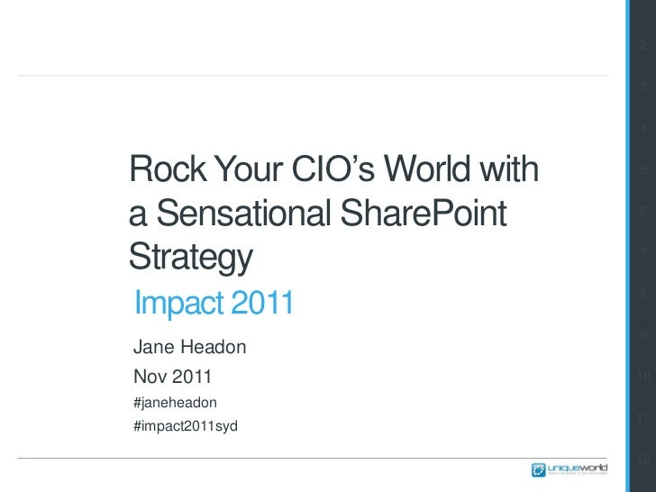 2                             3                             4Rock Your CIO's World with   5a Sensational SharePoint     6S...