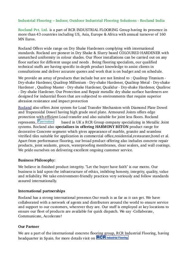 IndustrialFlooring–Indoor,OutdoorIndustrialFlooringSolutionsRoclandIndia RoclandPvt.Ltd.isapartofRCRIND...