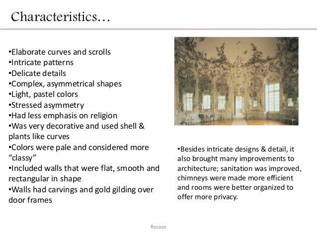 Rococo for Baroque style characteristics