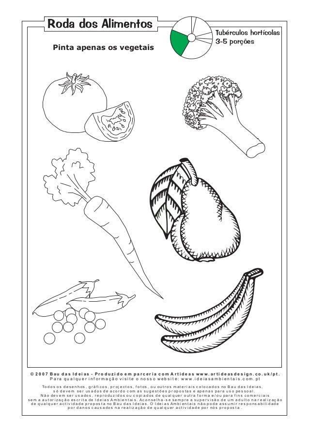 Roda dos Alimentos Pinta apenas os vegetais  Tubérculos hortícolas 3-5 porções  © 2007 Bau das Ideias - Produzido em parce...
