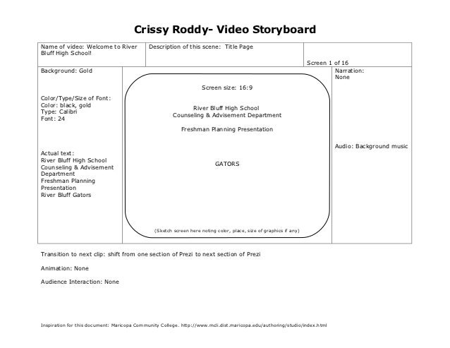 Crissy Roddy- Video StoryboardName of video: Welcome to River              Description of this scene: Title PageBluff High...
