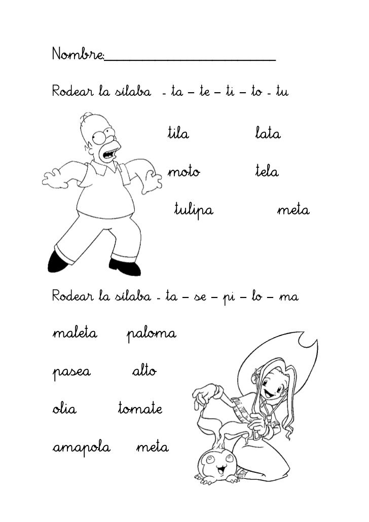 Nombre:___________________________Rodear la sílaba - ta – te – ti – to - tu                    tila           lata        ...