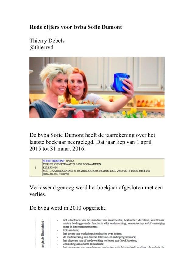 Rode cijfers voor bvba Sofie Dumont Thierry Debels @thierryd De bvba Sofie Dumont heeft de jaarrekening over het laatste b...