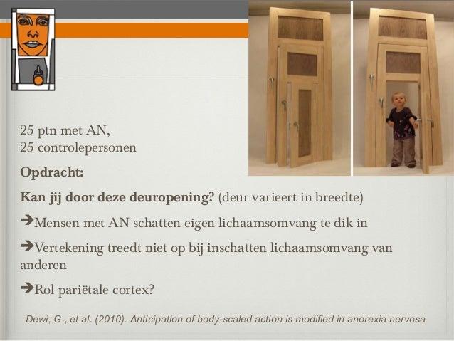 25 ptn met AN,25 controlepersonenOpdracht:Kan jij door deze deuropening? (deur varieert in breedte)Mensen met AN schatten...