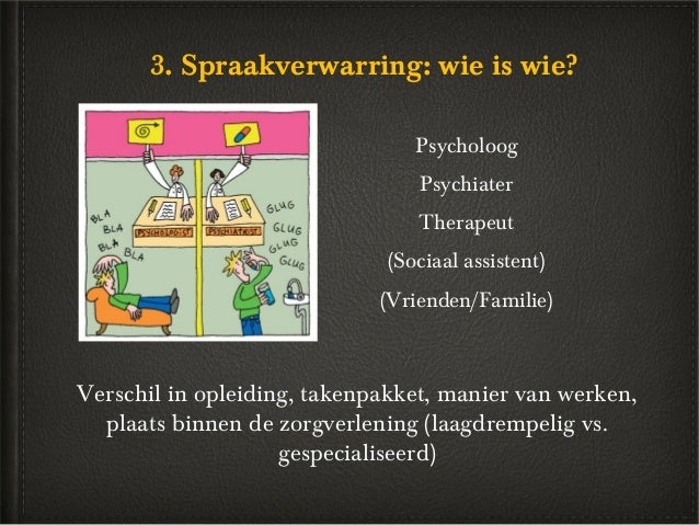 3. Spraakverwarring: wie is wie?                                Psycholoog                                 Psychiater     ...