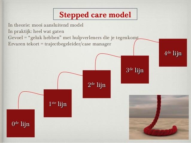 """Stepped care modelIn theorie: mooi aansluitend modelIn praktijk: heel wat gatenGevoel = """"geluk hebben"""" met hulpverleners d..."""