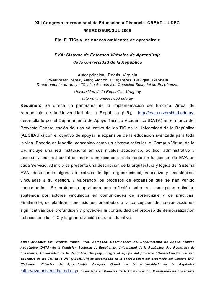 XIII Congreso Internacional de Educación a Distancia. CREAD – UDEC                                          /MERCOSUR/SUL ...