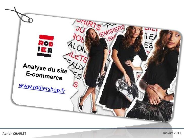 Audit de l'E-boutique www.RODIERSHOP.fr