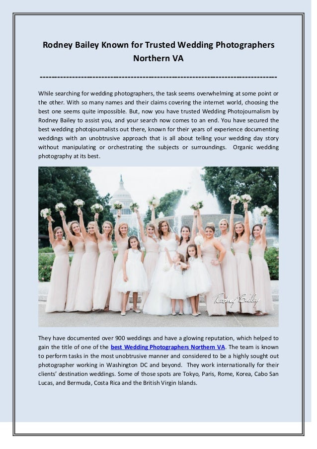 Rodney Bailey Known for Trusted Wedding Photographers Northern VA --------------------------------------------------------...