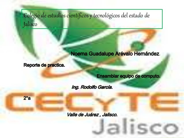 Colegio de estudios científicos y tecnológicos del estado de Jalisco Noema Guadalupe Arévalo Hernández. Reporte de practic...
