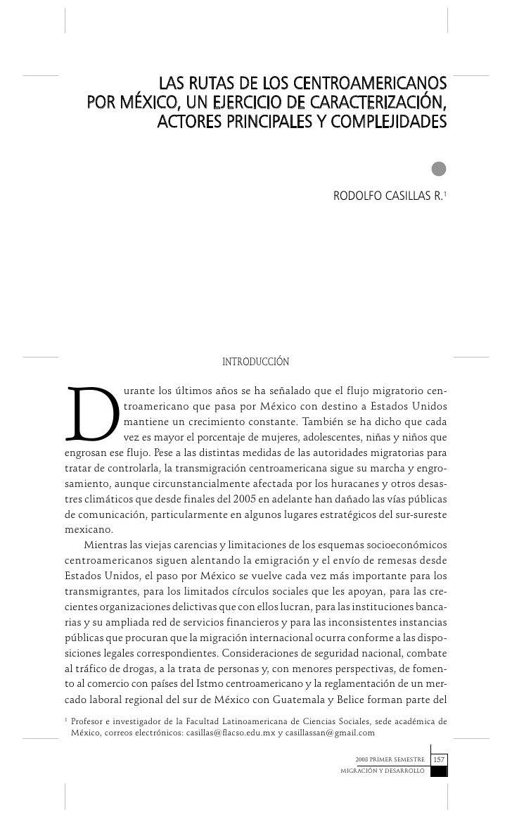 LAS RUTAS DE LOS CENTROAMERICANOS       POR MÉXICO, UN EJERCICIO DE CARACTERIZACIÓN,               ACTORES PRINCIPALES Y C...