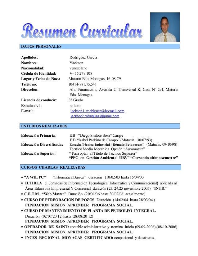 DATOS PERSONALES Apellidos: Rodríguez García Nombres: Yackson Nacionalidad: venezolano Cédula de Identidad: V- 15.279.108 ...