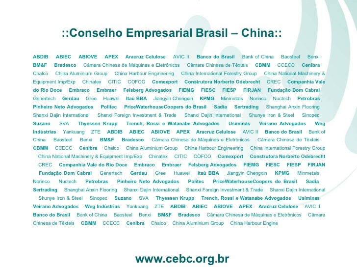 ABDIB    ABIEC    ABIOVE    APEX    Aracruz Celulose    AVIC II     Banco do Brasil    Bank of China    Baosteel  ...