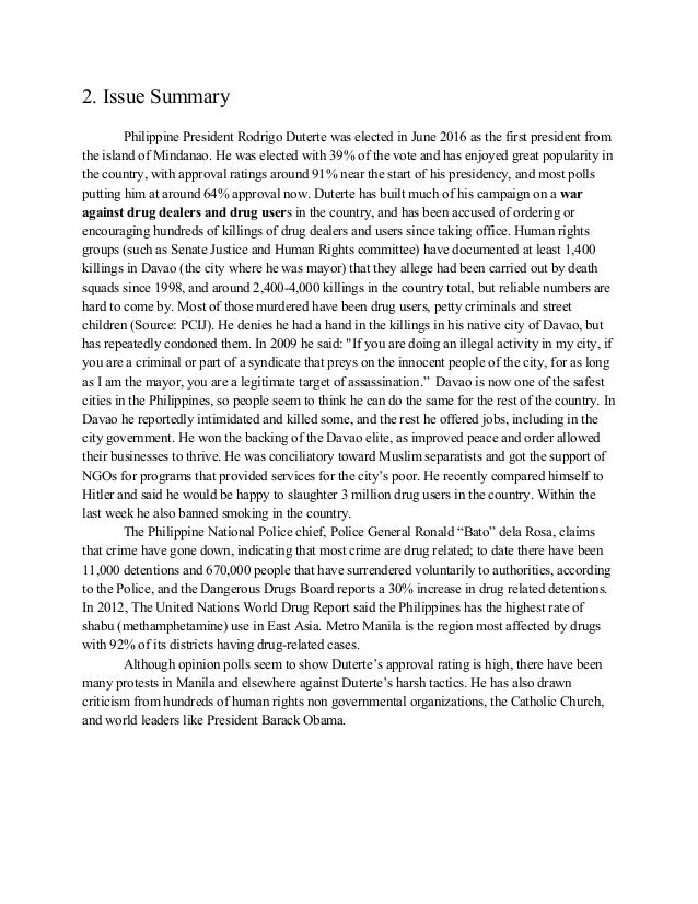reaction paper about drug addiction in the philippines