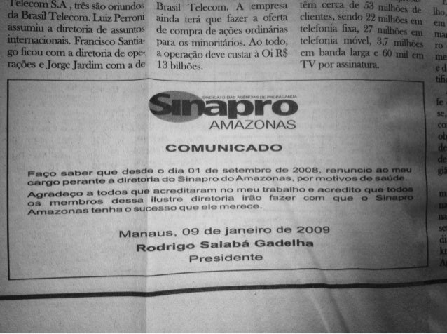 Jornal do Commercio, renúncia Sinapro AM - Janeiro 2009