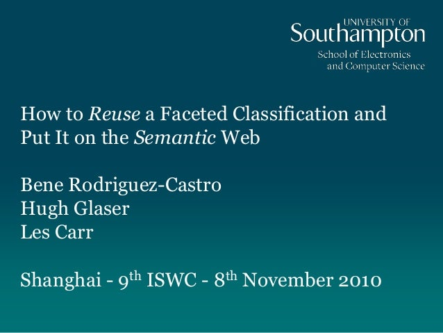 How to Reuse a Faceted Classification andPut It on the Semantic WebBene Rodriguez-CastroHugh GlaserLes CarrShanghai - 9th ...