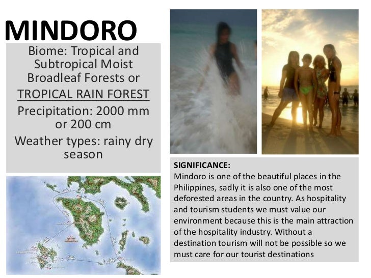 MINDORO Biome: Tropical and    Subtropical Moist   Broadleaf Forests or TROPICAL RAIN FOREST Precipitation: 2000 mm       ...