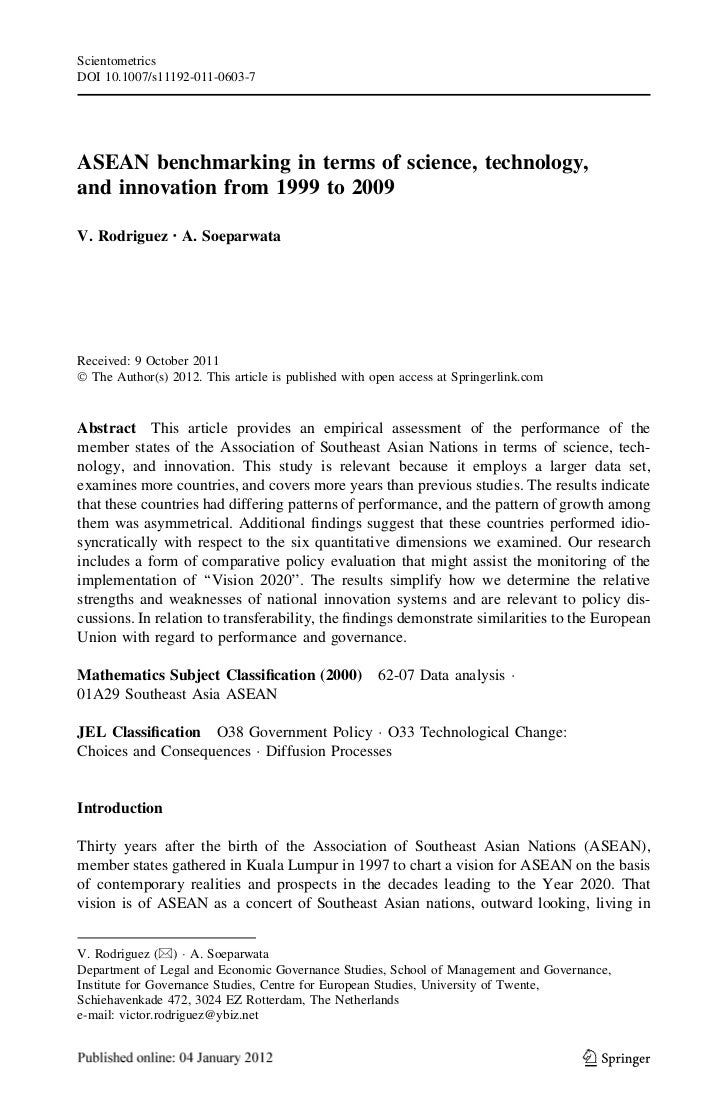 ScientometricsDOI 10.1007/s11192-011-0603-7ASEAN benchmarking in terms of science, technology,and innovation from 1999 to ...