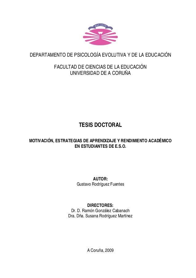 DEPARTAMENTO DE PSICOLOGÍA EVOLUTIVA Y DE LA EDUCACIÓN FACULTAD DE CIENCIAS DE LA EDUCACIÓN UNIVERSIDAD DE A CORUÑA TESIS ...