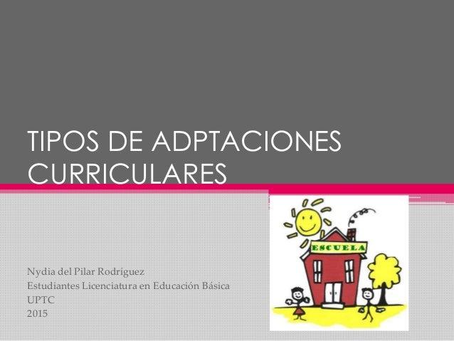 TIPOS DE ADPTACIONES CURRICULARES Nydia del Pilar Rodríguez Estudiantes Licenciatura en Educación Básica UPTC 2015
