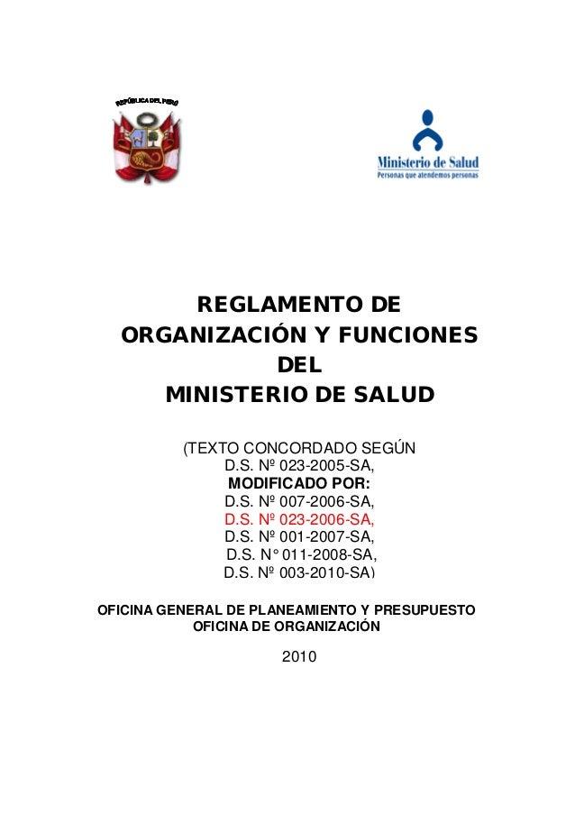 REGLAMENTO DE  ORGANIZACIÓN Y FUNCIONES             DEL     MINISTERIO DE SALUD          (TEXTO CONCORDADO SEGÚN          ...