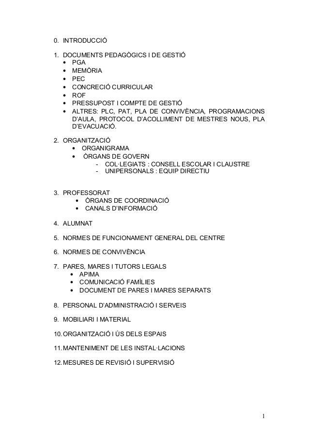 0. INTRODUCCIÓ 1. DOCUMENTS PEDAGÒGICS I DE GESTIÓ • PGA • MEMÒRIA • PEC • CONCRECIÓ CURRICULAR • ROF • PRESSUPOST I COMPT...