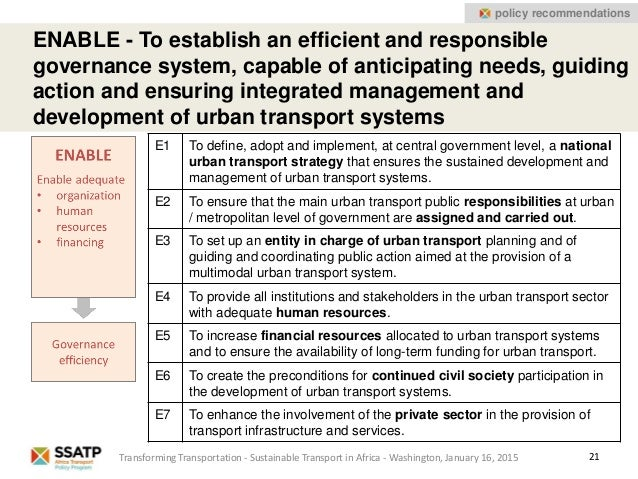 21 policy recommendations ENABLE - To establish an efficient and responsible governance system, capable of anticipating ne...