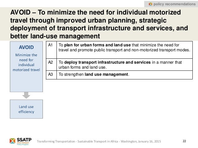 22 AVOID – To minimize the need for individual motorized travel through improved urban planning, strategic deployment of t...