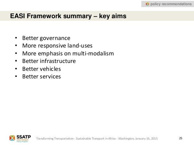 25 EASI Framework summary – key aims Transforming Transportation - Sustainable Transport in Africa - Washington, January 1...
