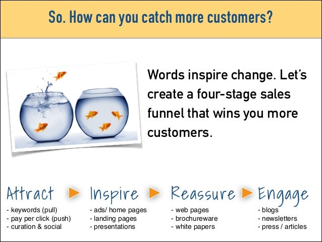 So. How can you catch more customers? Words inspire change. Let's create a four-stage sales funnel that wins you more cust...