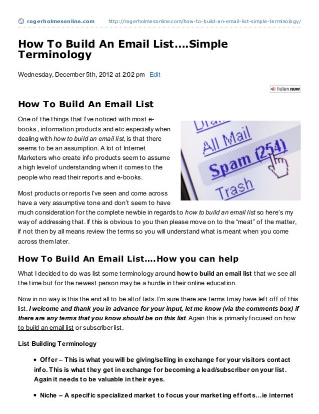 rogerholmesonline.com          http://rogerholmesonline.com/how-to-build-an-email-list-simple-terminology/How To Build An ...