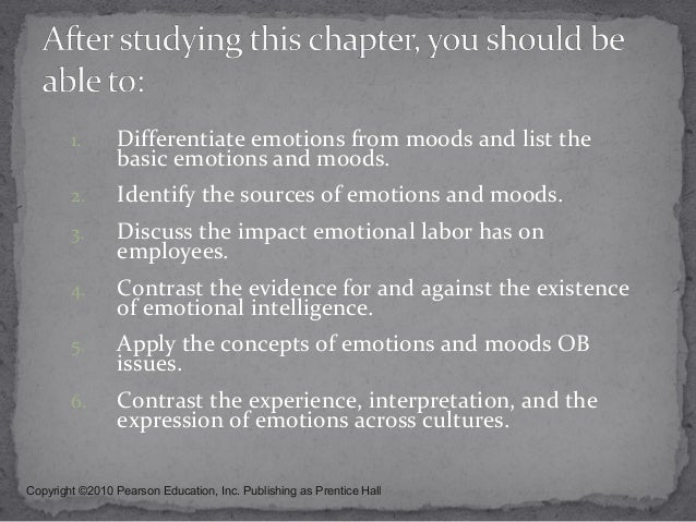 organizational behavior emotions and moods Emotions in organizational behavior by neal m ashkanasy (positive or negative emotions or moods, varying on dimensions of valence and intensity).