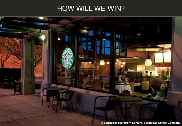 HOW WILL WE WIN? A Starbucks storefront at night. Starbucks Coffee Company