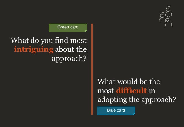 What do you find most intriguing about the approach? What would be the most difficult in adopting the approach? Blue card ...