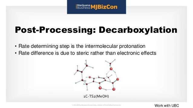 Post-Processing: Decarboxylation • Rate determining step is the intermolecular protonation • Rate difference is due to ste...