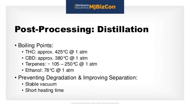 Post-Processing: Distillation • Boiling Points: • THC: approx. 425°C @ 1 atm • CBD: approx. 380°C @ 1 atm • Terpenes: ~ 10...
