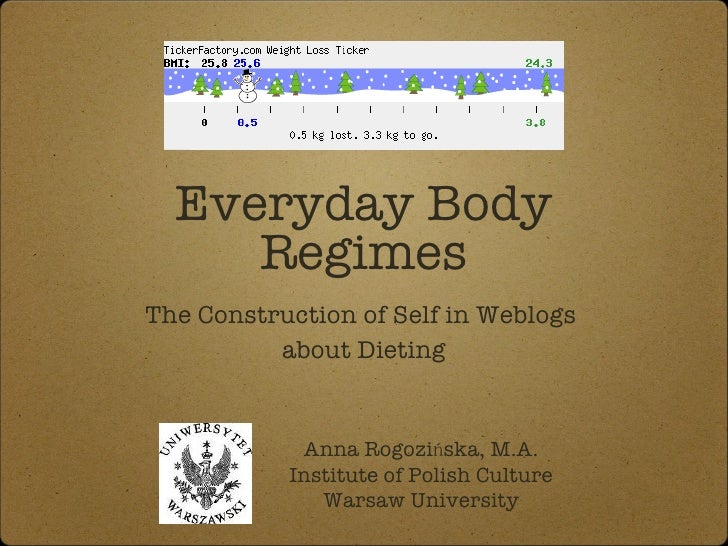 Everyday Body Regimes <ul><li>The Construction of Self in Weblogs  </li></ul><ul><li>about Dieting </li></ul>Anna Rogozińs...