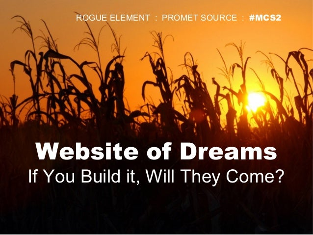 Website of Dreams If You Build it, Will They Come? ROGUE ELEMENT : PROMET SOURCE : #MCS2