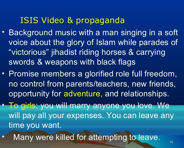 ROH – 2015-03-25ROH – 2015-03-25 1616 ISIS Video & propaganda • Background music with a man singing in a soft voice about ...