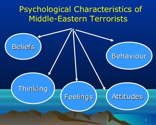 Psychological Characteristics of Middle-Eastern Terrorists BeliefsBeliefs ThinkingThinking AttitudesAttitudes BehaviourBeh...