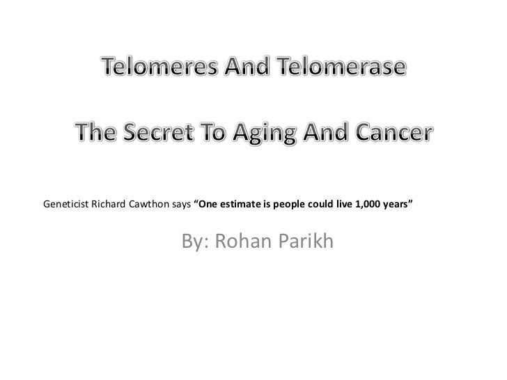 "Telomeres And TelomeraseThe Secret To Aging And Cancer<br />Geneticist Richard Cawthon says ""One estimate is people could ..."