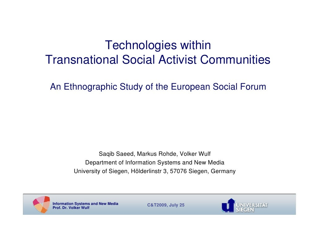 Technologies within Transnational Social Activist Communities  An Ethnographic Study of the European Social Forum         ...