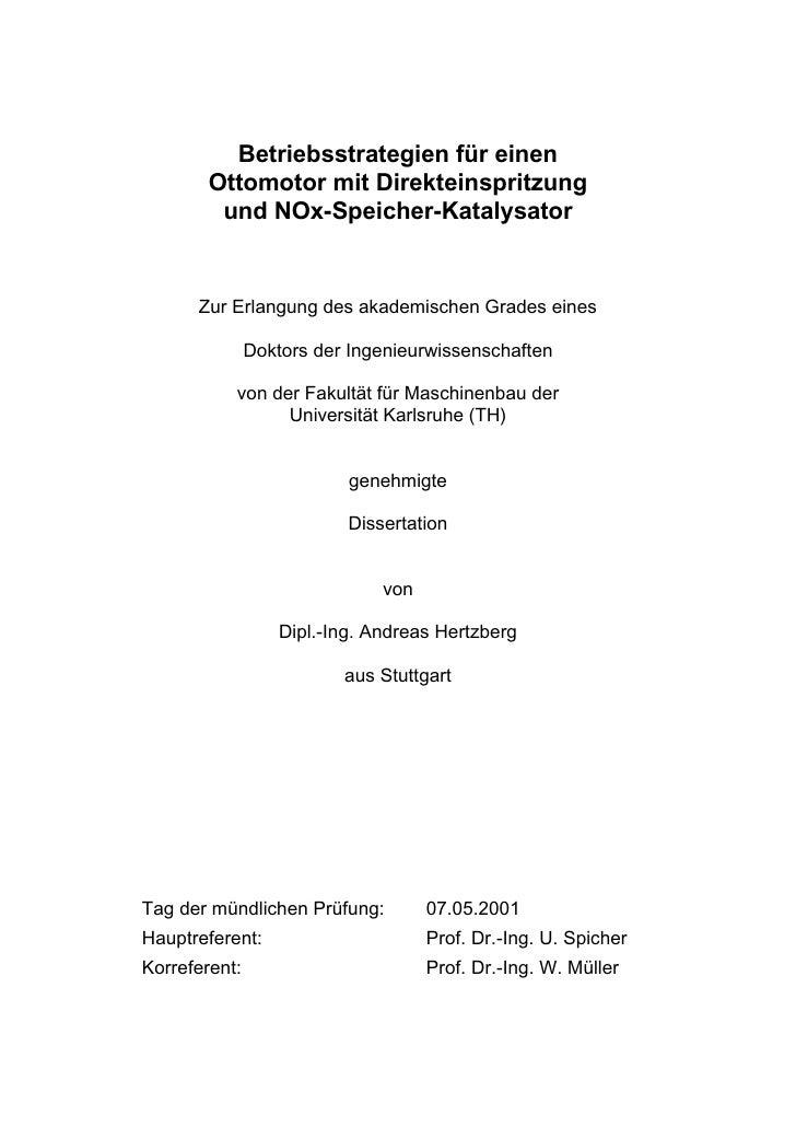 Betriebsstrategien für einen        Ottomotor mit Direkteinspritzung         und NOx-Speicher-Katalysator      Zur Erlangu...