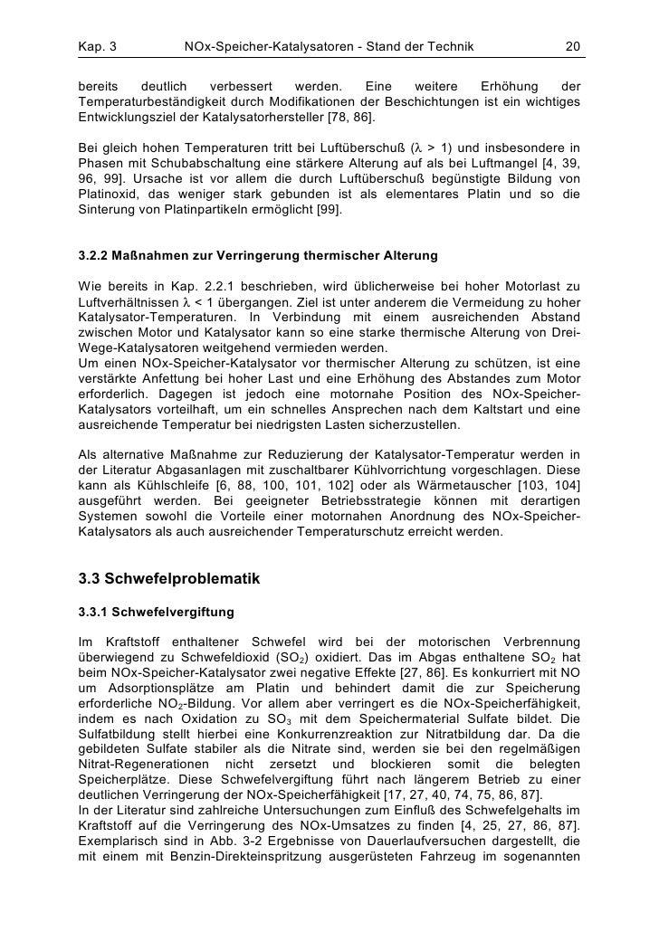 Kap. 3           NOx-Speicher-Katalysatoren - Stand der Technik                 20bereits   deutlich    verbessert    werd...