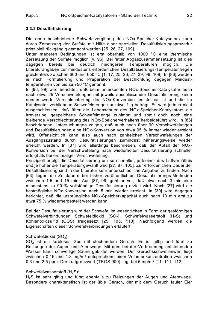 Kap. 3            NOx-Speicher-Katalysatoren - Stand der Technik                    223.3.2 DesulfatisierungDie oben besch...